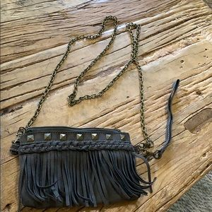 Navy Suede Fring Crossbody